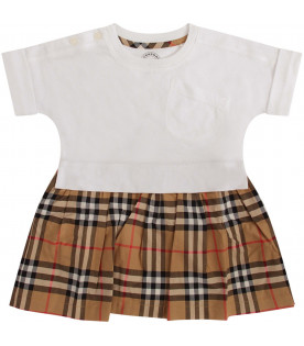 BURBERRY KIDS White and beige babygirl dress