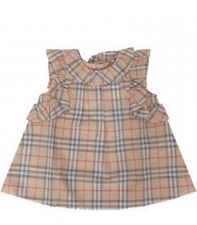 BURBERRY KIDS Beige babygirl checked dress