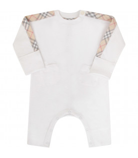 BURBERRY KIDS White babykid set with classic checked pattern
