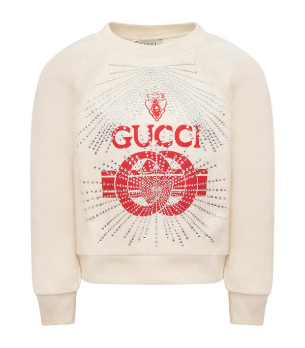 GUCCI KIDS Ivory girl sweatshirt with red logo and rhinestone