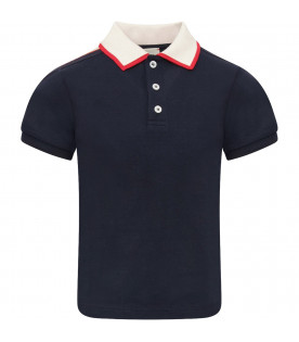 GUCCI KIDS Blue boy polo shirt with ivory logo