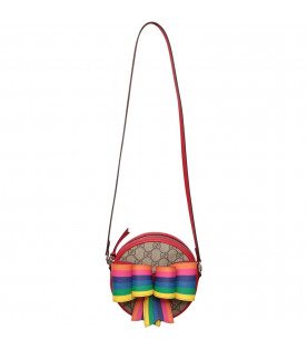 GUCCI KIDS Beige girl bag with olorful fawns
