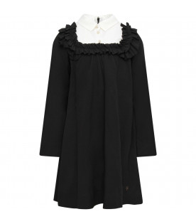 LANVIN PETITE Black girl dress with ruffle
