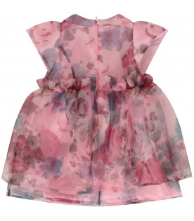 SIMONETTA Pink babygirl dress with colorful flowers
