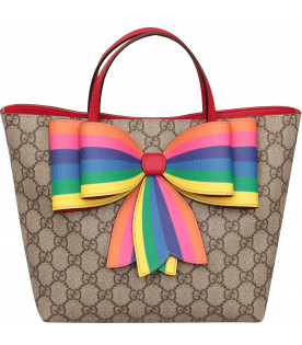 GUCCI KIDS Beige girl bag with rainbow bow