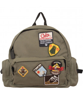 DSQUARED2 Military green kids backpack with colorful patch