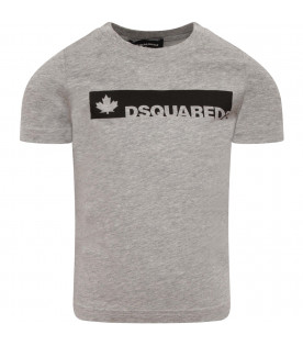 DSQUARED2 Grey kids T-shirt with grey logo