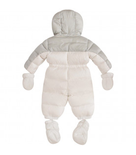 MONCLER KIDS White and grey babykids with bordeaux logo