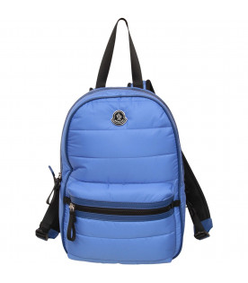 MONCLER KIDS Royal blue kids backpack with metallic logo