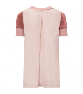 MONCLER KIDS Pink girl dress with iconic logo