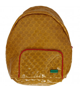 MUMOFSIX Mustard kids backpack with green logo