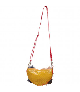 MUMOFSIX Mustard girl bag with colorful feathers