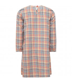MUMOFSIX White babygirl dress with colorful check