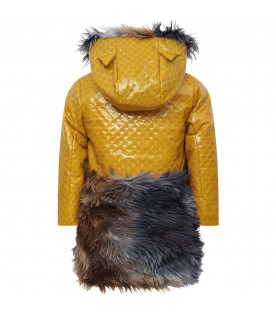 MUMOFSIX Yellow girl jacket with colorful feathers