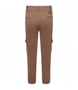 MUMOFSIX Beige boy cargo with green logo