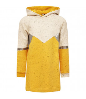 MUMOFSIX Yellow and ivory girl dress with silver details