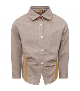 MUMOFSIX Beige boy shirt with micro-pattern