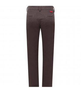 MUMOFSIX Grey boy pants with red logo