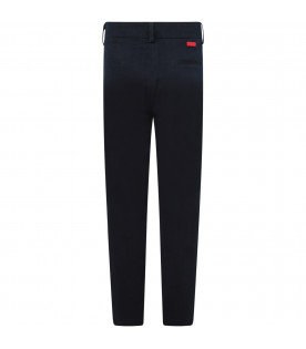 MUMOFSIX Blue boy pants with red logo