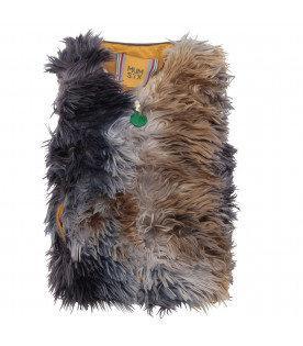 MUMOFSIX Grey girl gilet with colorful feathers