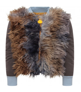 MUMOFSIX Grey girl bomber jacket with colorful feathers
