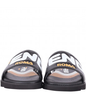 FENDI KIDS Black and white kids Fendi Mania sandals