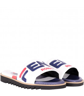 FENDI KIDS White and blue kids Fendi Mania sandals