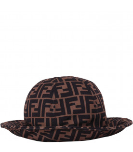 FENDI KIDS Brown kids FF sun hat