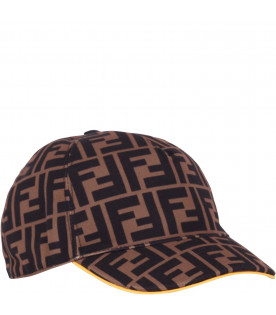 FENDI KIDS Brown kids FF hat