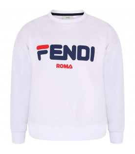 FENDI KIDS White Kids Fendi Mania sweatshirt