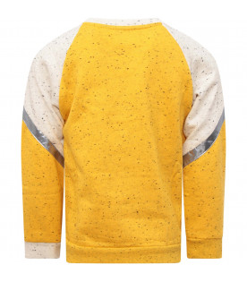 MUMOFSIX Yellow and ivory kids sweatshirt with silver details