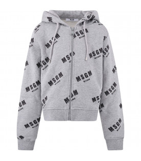MSGM KIDS Melanged grey girl sweatshirt with all-over logo