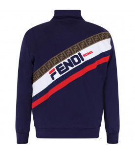 FENDI KIDS Blue kids Fendi Mania and FF sweatshirt