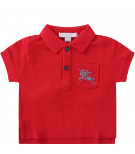 BURBERRY KIDS Red babyboy polo shirt with grey iconic logo