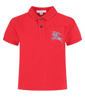 BURBERRY KIDS Red boy polo shirt with grey iconic logo