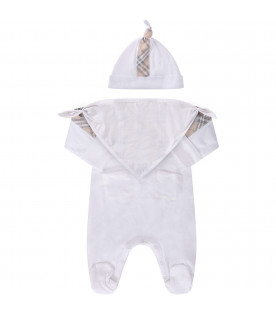 BURBERRY KIDS White babykidsset with classic check