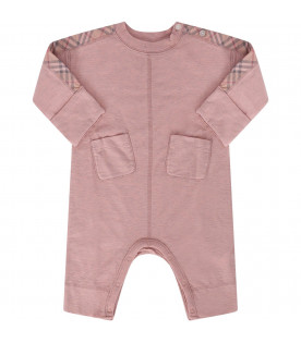BURBERRY KIDS Pink babyboy set with classic check