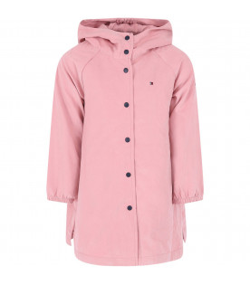 TOMMY  HILFIGER JUNIOR Pink girl jacket with iconic logo