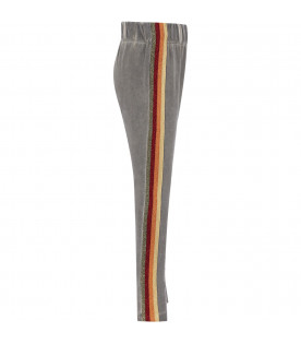 GOGANGA Grey girl sweatpants with red and blue stripes