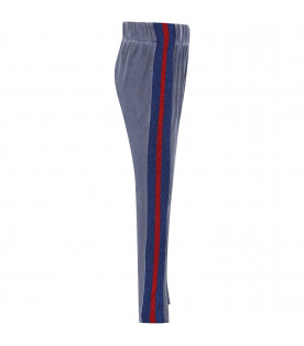 GOGANGA Dusty blue girl sweatpants with red and blue stripes