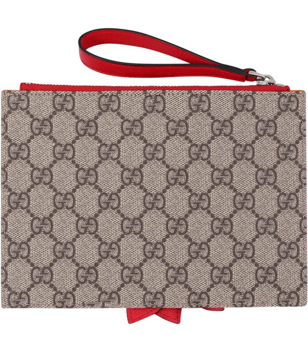 988356617 GUCCI KIDS Beige girl pouch with rainbow bow - CoccoleBimbi
