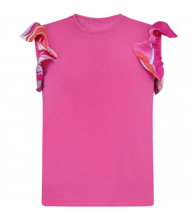 EMILIO PUCCI JUNIOR Fuchsia girl T-shirt with ruffles