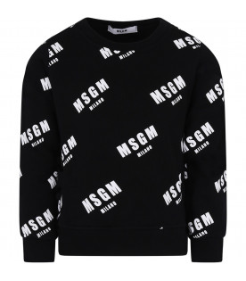 MSGM KIDS Black girl sweatshirt with white all-over logo