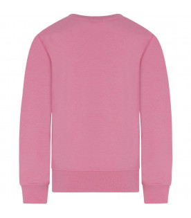 MSGM KIDS Pink girl sweatshirt with black logo