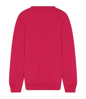 MSGM KIDS Fuchsia girl sweatshirt with black logo