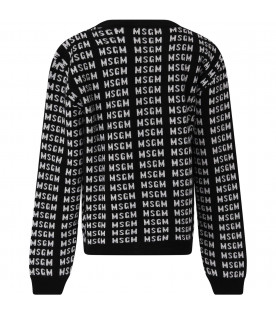 MSGM KIDS Black girl sweater with white all-over logo