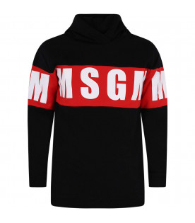 MSGM KIDS Black girl maxi sweatshirt with white logo
