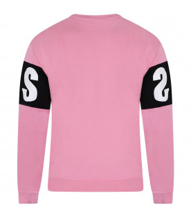 MSGM KIDS Pink girl sweatshirt with white logo