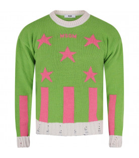 MSGM KIDS Neon green girl sweater with pink logo