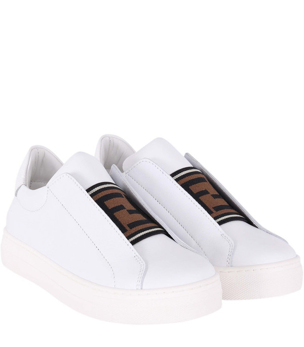 FENDI KIDS White kids sneaker with FF